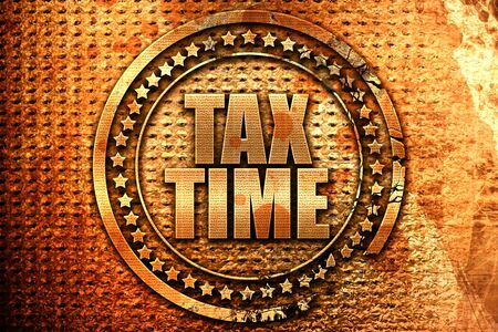 tax time, 3D rendering, metal text