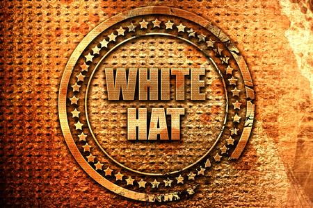 white hat, 3D rendering, metal text Stock Photo