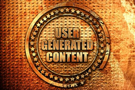 user generated content, 3D rendering, metal text Stock Photo