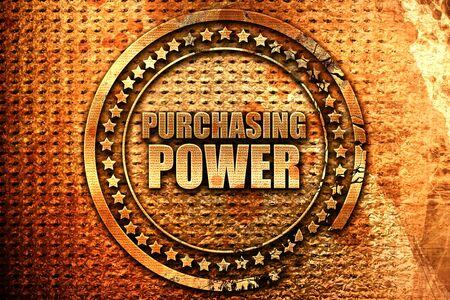 purchasing power, 3D rendering, metal text