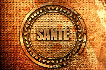 French text sante on grunge metal background, 3D rendering