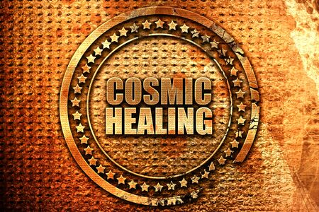 cosmic healing, 3D rendering, metal text