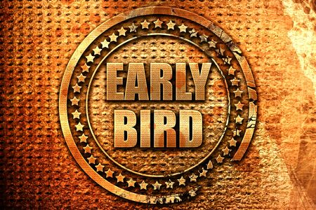 early bird, 3D rendering, metal text