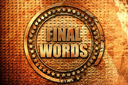conclusión: final words, 3D rendering, metal text