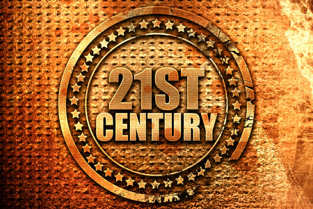 21st century, 3D rendering, metal text Stock Photo