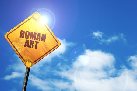 roman art, 3D rendering, traffic sign Stock Photo