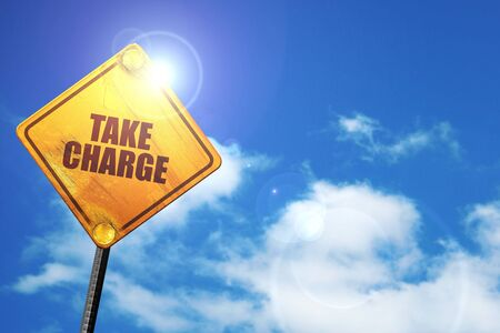 take charge, 3D rendering, traffic sign Stock Photo