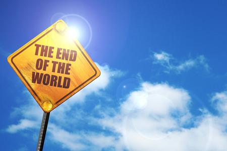 la fin du monde, rendu 3d, panneau de signalisation