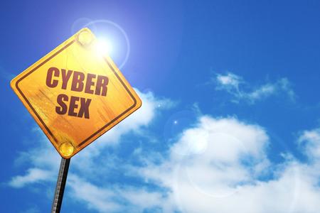 sex traffic: cyber sex, 3D rendering, traffic sign