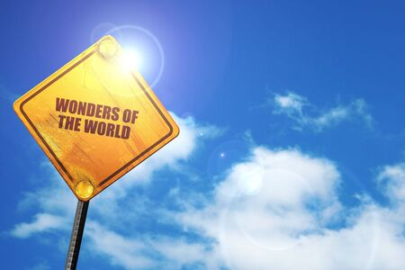 wonders of the world, 3D rendering, traffic sign Stock Photo
