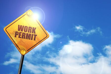 work permit, 3D rendering, traffic sign Stock Photo
