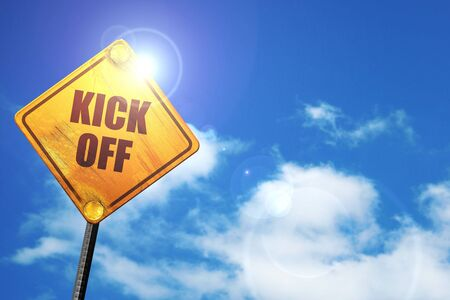 kick off, 3D rendering, traffic sign Stock Photo