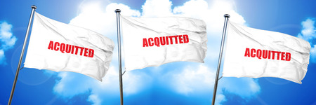 acquitted, 3D rendering, triple flags Stock Photo