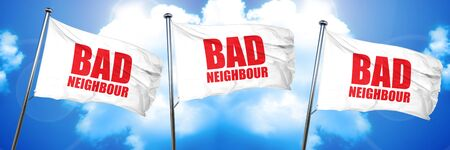 bad neighbour, 3D rendering, triple flags