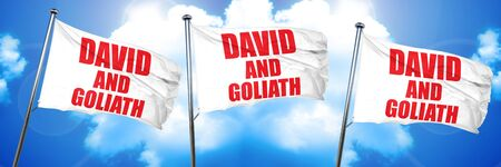 unequal: david and goliath, 3D rendering, triple flags Stock Photo