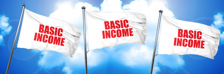 new addition: basic income, 3D rendering, triple flags Stock Photo