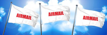 airmail, 3D rendering, triple flags