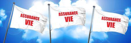 Assurance vie, rendu 3D, drapeaux triples