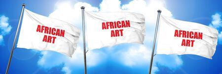 african art, 3D rendering, triple flags Stock Photo