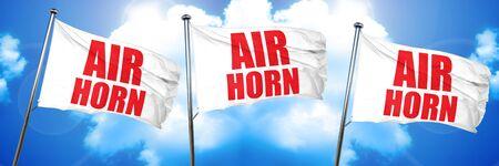air horn, 3D rendering, triple flags Stock Photo