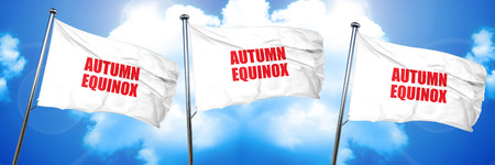 autumn equinox, 3D rendering, triple flags Stock Photo