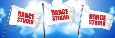 dance studio, 3D rendering, triple flags