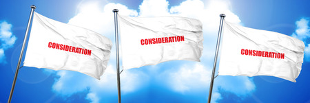 consideration, 3D rendering, triple flags Stock Photo