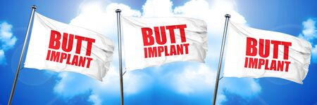 butt implant, 3D rendering, triple flags Stock Photo