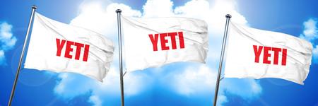 yeti, 3D rendering, triple flags