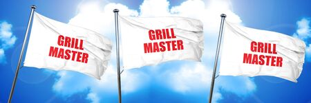 grill tongs sausage: grill master, 3D rendering, triple flags Stock Photo