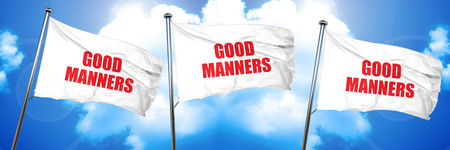 good manners, 3D rendering, triple flags Stock Photo