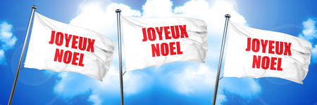 joyeux noel, 3D rendering, triple flags Stock Photo