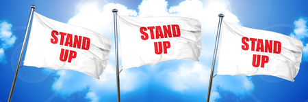 taking charge: stand up, 3D rendering, triple flags Stock Photo