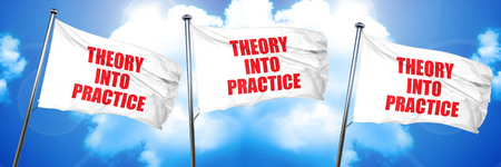 theory into practice, 3D rendering, triple flags Stock Photo