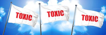 caution chemistry: toxic, 3D rendering, triple flags