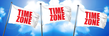 timezone: timezone, 3D rendering, triple flags Stock Photo