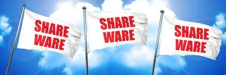 shareware: shareware, 3D rendering, triple flags Stock Photo