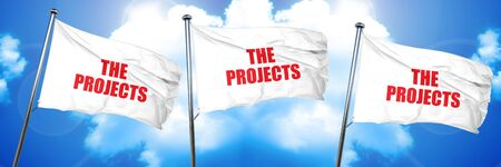 the projects, 3D rendering, triple flags Stock Photo