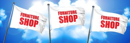 furniture store: furniture shop, 3D rendering, triple flags Stock Photo
