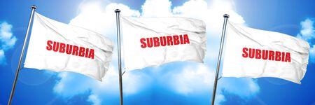 suburban neighborhood: suburbia, 3D rendering, triple flags Stock Photo