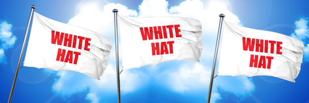white hat, 3D rendering, triple flags
