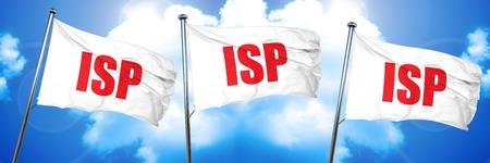 isp: isp, 3D rendering, triple flags Stock Photo