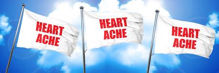 heartache: heartache, 3D rendering, triple flags Stock Photo