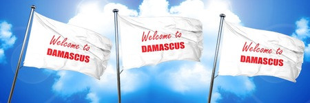 Welcome to damascus with some smooth lines, 3D rendering, triple flags Banco de Imagens