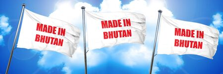 produced: Made in bhutan with some soft smooth lines, 3D rendering, triple flags