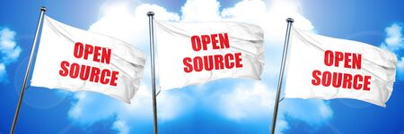 software portability: open source, 3D rendering, triple flags Stock Photo
