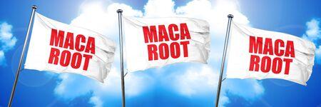 maca: maca root, 3D rendering, triple flags Stock Photo