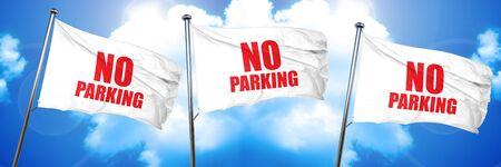 no parking, 3D rendering, triple flags
