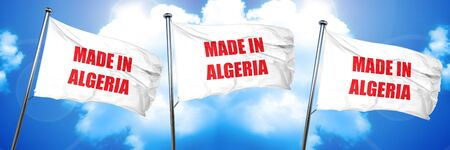 Made in algeria with some soft smooth lines, 3D rendering, triple flags