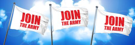 join the army, 3D rendering, triple flags Imagens